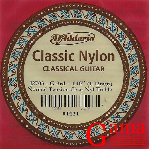 "D'Addario J2703 Struna G-3 do gitary klasycznej 040"" 1.02mm normal tension"